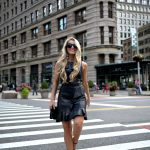 Leather Dress with Ruffles in NYC