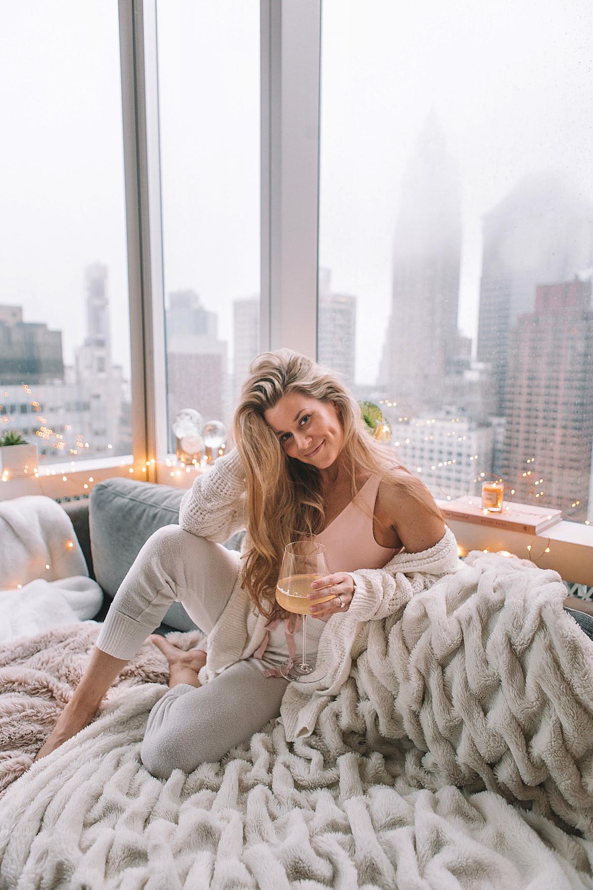 nyc apartment, social distancing, quarantine, self care blog, stay home, comfy clothes, west elm, olivia rink, olivia rink apartment, city apartment, apartment decor