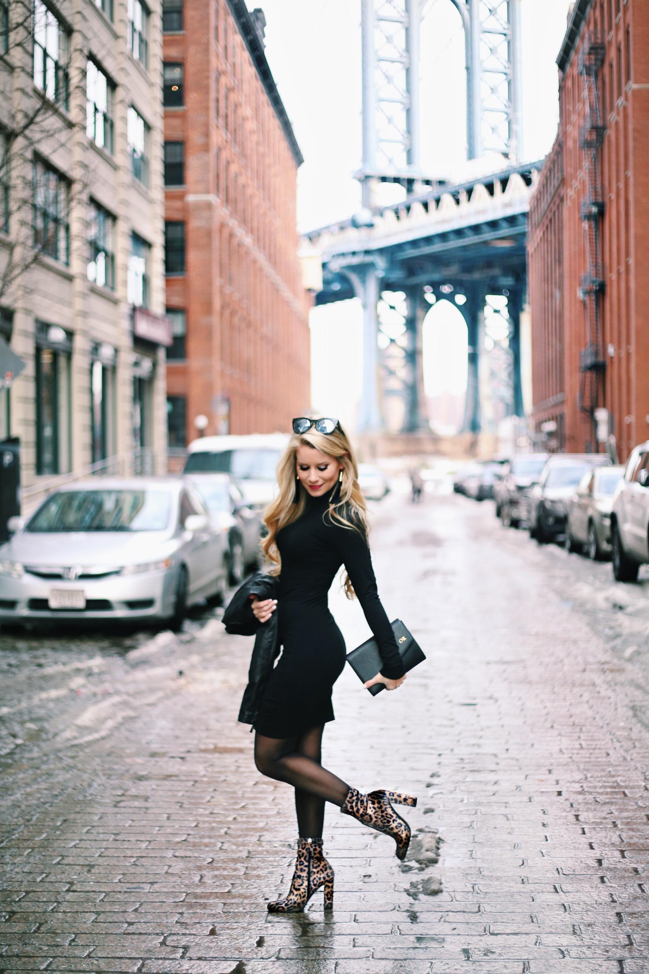 Black Dress + Leopard Booties - Welcome
